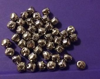 35 mini silver bells charms