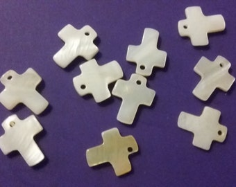 10 pc pearlized shell Cross Charms