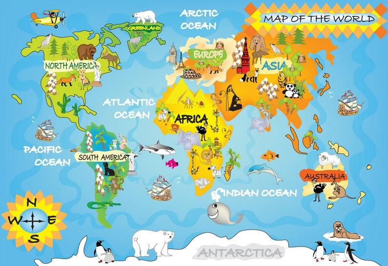 World map cross stitch children\'s world mapworld map for   Etsy