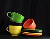 Vintage Fiestaware Set of Tea Coffee Cup and Saucer Assorted Bright Colors. Choose One or Choose All Orange, Plum, Yellow. Good Condition