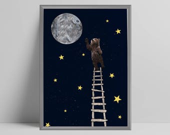 Brown bear reaching for full moon, ladder, stars, night sky, nursery, play room, scandi, scandinavian nursery, girls boys bedroom,