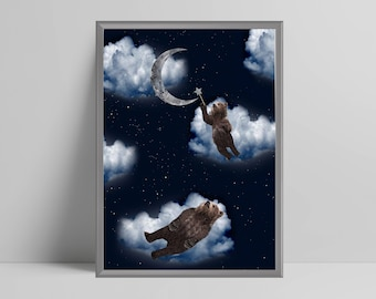 Sleepy bears on clouds, moon, stars, night sky, nursery, play room, scandi, scandinavian nursery, girls boys bedroom,