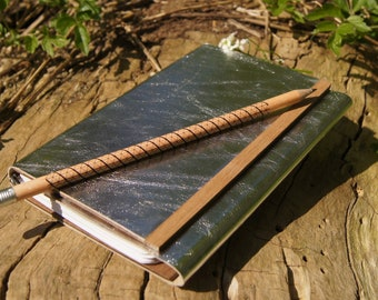 Notebook leather and wood - silver