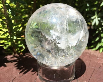 Clear quartz sphere, clear with inclusions, 6oz - 170 gr, 50mm / choice of stand included - Amazing piece!