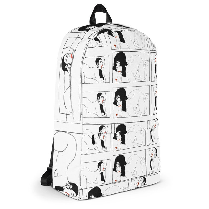 adult Dyani erotic explicit modern contemporary pin up art black and white comic book porn  Backpack Warning 18