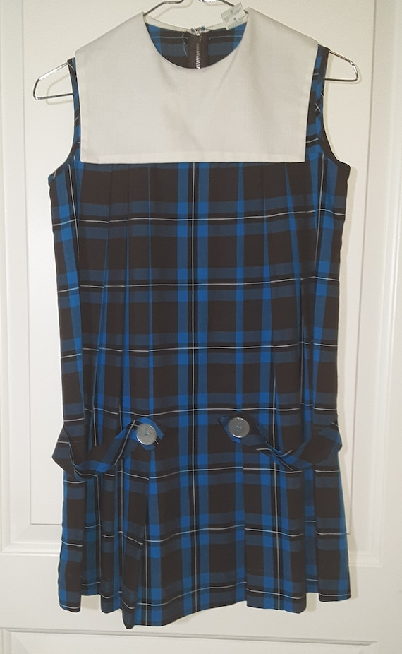 60s-70s Girls Blue Plaid Frock