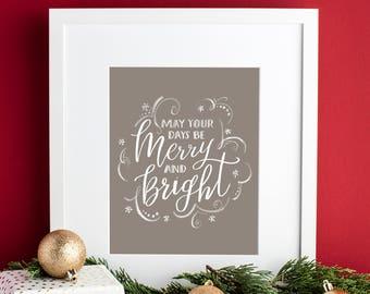 Christmas Print / Merry and Bright / Holiday Print / Calligraphy Print / Brush Lettering Print / Christmas Framable Art