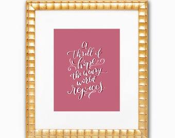 Christmas Print / Thrill of Hope / O Holy Night / Holiday Print / Calligraphy Print / Brush Lettering Print / Christmas Framable Art