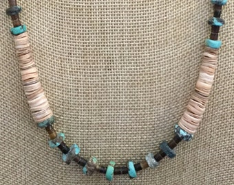 Graduated Seashell & Vintage Turquoise handmade necklace