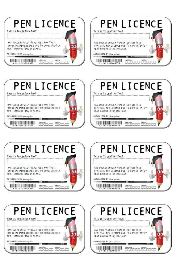 Pen Licences Classroom Fun Students Pen Licence Neat
