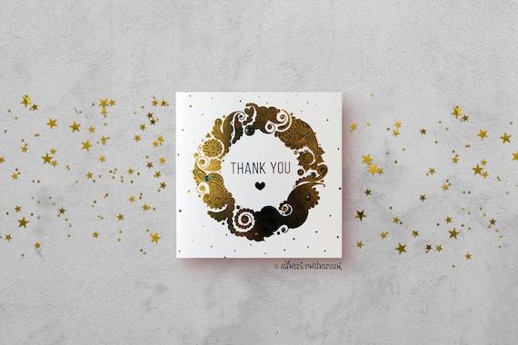 Thank You Card Gold foil Mandala Card Henna Paisley Card   Etsy