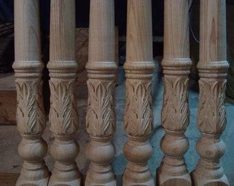 Dining Table Legs Turned Wood Legs turned table legs wood table legs Hardwood Wide Legs Large Unfinished Cottage Farmhouse