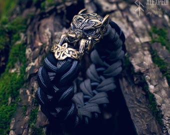 Gray Wolf - Paracord bracelet with Exclusive bronze buckle