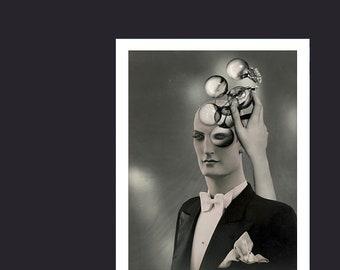 The Illuminati Art Print, Surreal Vintage Mannequin Photo Collage, Obscura Machina