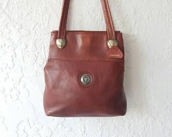 HANDMADE LEATHER COLLECTION bAG • Leather Shoulder bag • Brown Leather Handbag • Vintage Leather tote Bag • Nineties top handle • Bucket bag