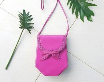 VINTAGE ROLAND PEIRRE bAG • Vintage bag• Pink leather bag • Leather Crossbody •Festival handbag •Handmade bag • Designer bag• Designer bag