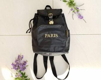 6571e0fc7e 90S FESTIVAL BACKPACK • Vintage Nylon Backpack • Black Rucksack• Black  Vintage bag • Womens backpack •Small handbag • School bag • Festival