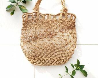 46305c725c6c WOVEN SHOPPING BAG • Big woven tote bag • Vintage hippie bag • Market  slouch bag • Women's rattan bag • Festival Wicker bag• Knotted Handbag