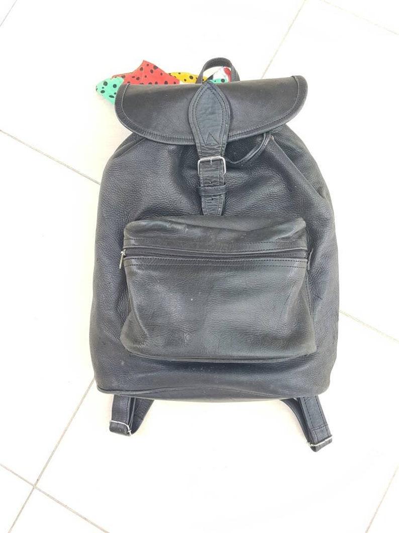 80e9ea51216e5 Große Leder Rucksack schwarz Vintage Tasche Jumbo Rucksack
