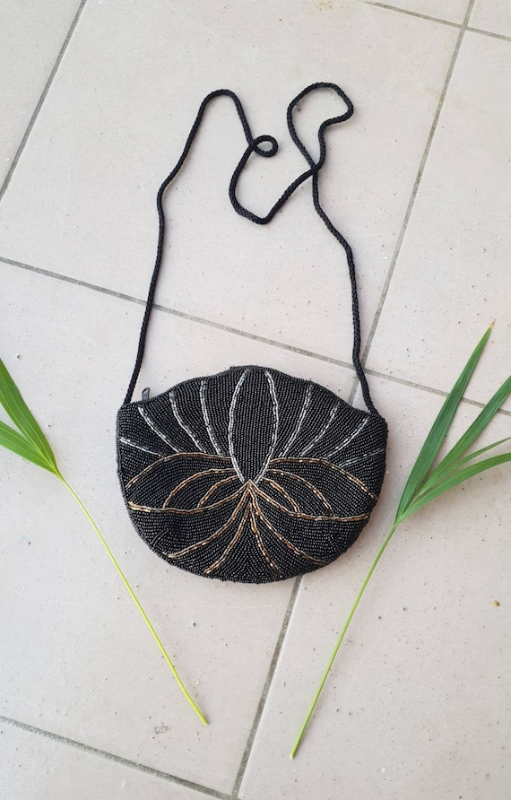 VINTAGE BEADED CROSSBODY • Evening bag• Beaded she