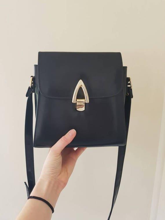 Vintage Goldcrest Bag • Navy Blue Vegan leather ha