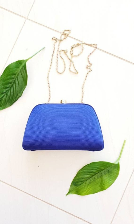 BLUE VINTAGE CROSSBODY • Blue Silk Bag • Crossbod… - image 1