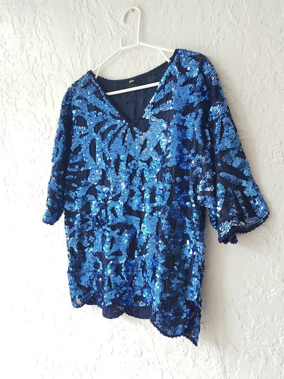 Beaded festival top • 1980s beaded top • Cyan blue