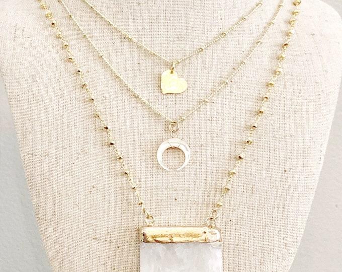 Raw Quartz Gold Pyrite Rosary