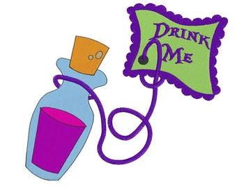 Drink Me- Embroidery Design - Alice in Wonderland - 4x4, 6x6, 7x8, 9x10, 11x12