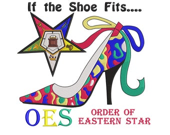 d2b43f2e5ce7 OES Star2 with Shoe - Order of Eastern Star- Eastern Star- Embroidery  Design - 3.2x3.5