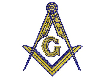 3x5 5x8 4x6 and 9x14 6x10 3x4 5x7 6x9 8x12 PHA Mason with Shining Square and Compasses Digital Machine Embroidery Design