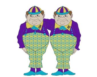Tweedle Dee & Tweedle Dum - Embroidery Design - Alice in Wonderland - 4x4, 6x6, 8x8, 9x10