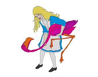Alice Playing Croquet - Embroidery Design - Alice in Wonderland - 4x4, 6x6, 7x8, 9x10