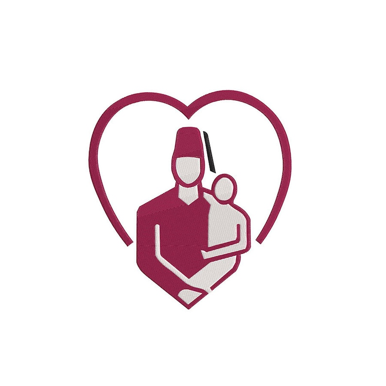 Shriner and Child Heart Embroidery Design 6x6 4x4 3x3 8x8 10x10 12x12