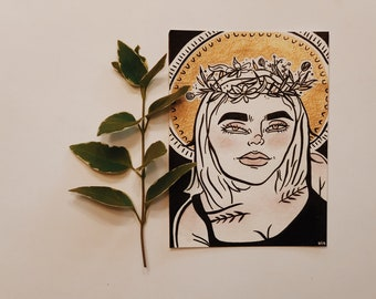 Honest Goddess // Watercolor & India Ink Painting