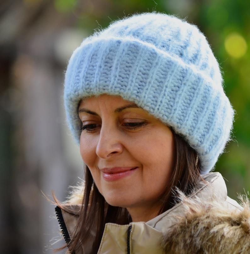 7dabba94b21 Mohair beanie fluffy knitted hat blue hat women thick