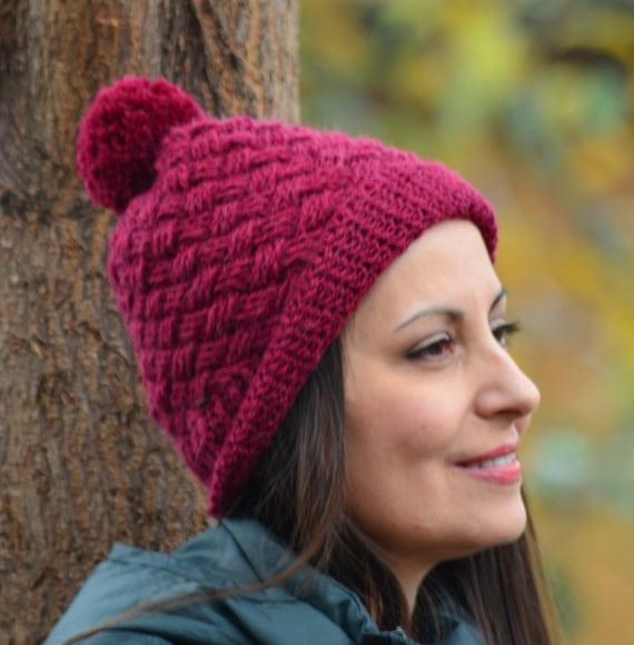 Alpaka Hut Pom Pom Mütze Häkeln Stricken Mütze Frauen Rote Etsy