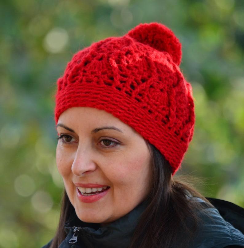 alpaca beanie women Red beanie with pom crochet cap for women skull beanie winter crochet hat