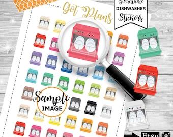 Dishwasher Planner Stickers, Printable Planner Stickers, Chores Stickers, Dishwashing Machine Planner Stickers, Stickers for Planners