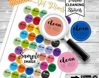 Clean The House Planner Stickers, Printable Planner Stickers, Printable Stickers, Planner Decor, Stickers For Planners, Decorating Stickers