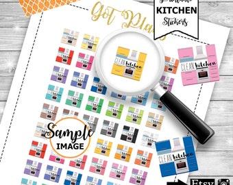 Kitchen Stickers, Cleaning Stickers, Kitchen Planner Stickers, Printable Stickers, Stickers For Planners