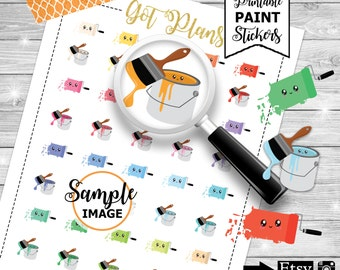 Paint Planner Stickers, Printable Planner Stickers, Stickers for Planners, Planner Printables, Planner Decor