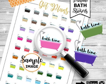 Bath Time Planner Stickers, Planner Printables, Bath Stickers, Printable Stickers, Stickers For Planner, Planning Decor, Bubble Bath Sticker