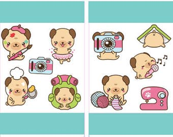 Dog Stickers, Printable Stickers, Dog Planner Stickers, Planner Decor, Kawaii Stickers, Planner Accessories