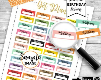 Birthday Planner Stickers, Printable Planner Stickers, Birthday Stickers For Planners, Functional Planner Stickers, Functional Stickers
