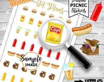 Picnic Planner Stickers, Planner Printables, Picnic Stickers, Stickers For Planning, Planner Decor, Printable Planner Stickers