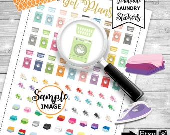 Laundry Planner Stickers, Laundry Stickers, Printable Stickers, Laundry Day Stickers