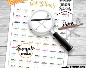 Iron Planner Stickers, Printable Planner Stickers, Scrapbook Stickers, Agenda Stickers, Planning Stickers, Laundry Stickers