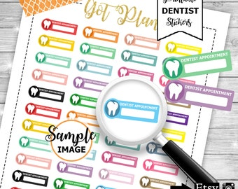 Dentist Appointment, Printable Planner Stickers, Dentist Stickers, Planner Stickers, Appointment Planner Stickers, Functional Stickers