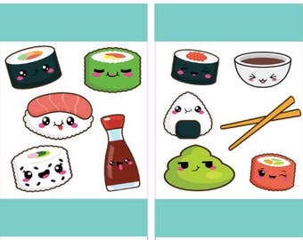 Sushi Stickers, Printable Planner Stickers, Item Stickers, Kawaii Food Stickers, Planner Decor, Instant Download